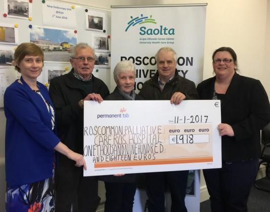 Cheque presentation to Roscommon University Hospital
