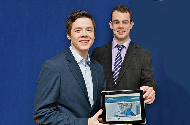 Ross Cullen, Technology Infrastructure Officer at UHG NUI Galway student Patrick at the launch of the WNWHG Website