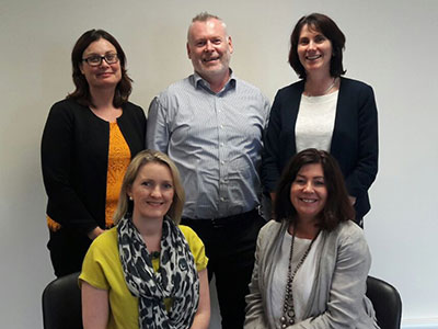 Portfolio Management Office. Front row: Goda Faherty, Jo Short. Back row: Colette Ansboro, Eamon Kelly, Pauline Burke