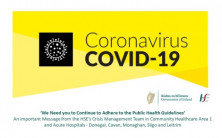 Message from the HSE's Crisis Management Team in Community Healthcare Area 1 & Acute Hospitals - Donegal, Cavan, Monaghan, Sligo and Leitrim